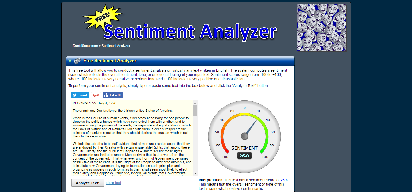 Daniel Soper Sentiment Analyzer